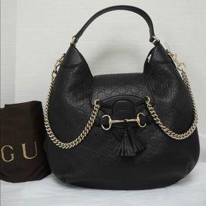 Black Gucci Emily Hobo